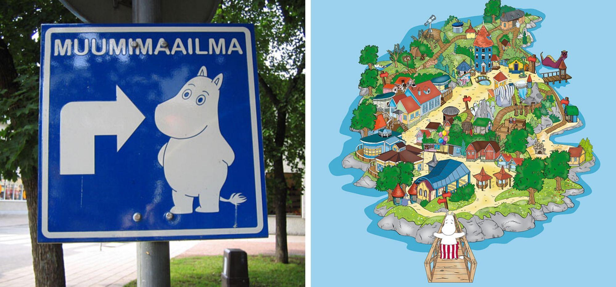 Finlandia - Świat Muminków - drogowskaz i mapa
