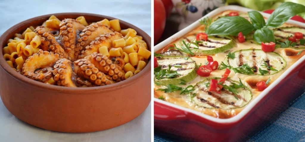 Grecka kuchnia - mousaka i owoce morza