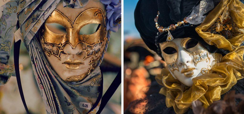 Maska wenecka z motywami muzycznymi