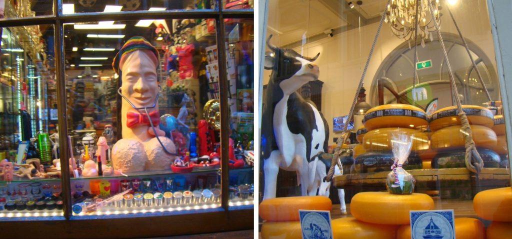 Kolorowe witryny sklepowe w Amsterdamie