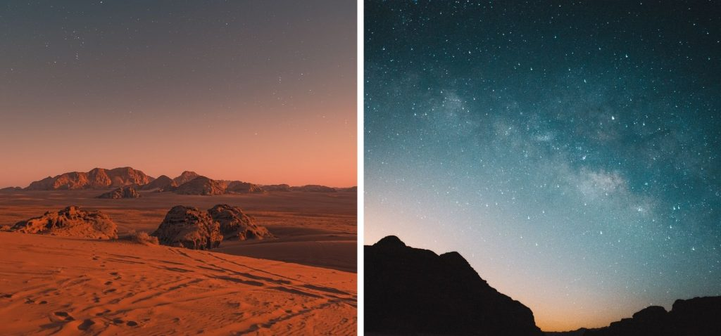 Rozgwieżdżone niebo nad Wadi Rum