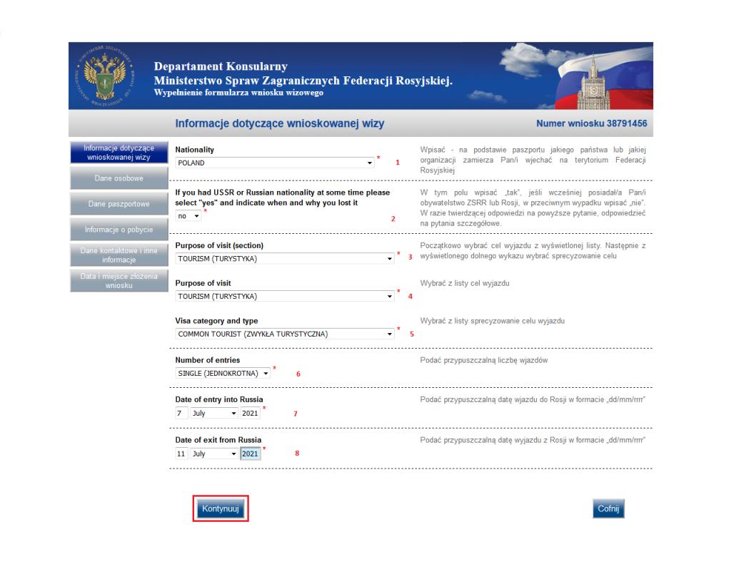 Wizy do Rosji - wypełniamy wniosek - Krok 4