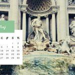 Kartka z kalendarza - maj 2021 - Fontanna di Trevi w Rzymie