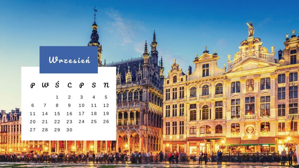 Grand Place w Brukseli - Kartka z kalendarza - wrzesień 2021