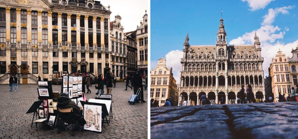 Broodhuis i uliczni artyści pod Domem Książąt Brabancji w belgijskiej stolicy