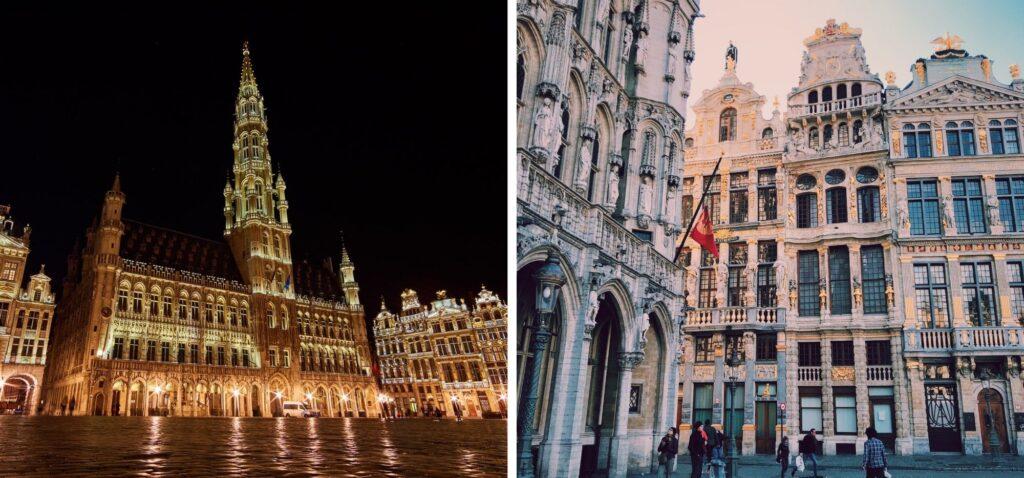 Ratusz i zabytkowe kamienic na Grand Place w Brukseli