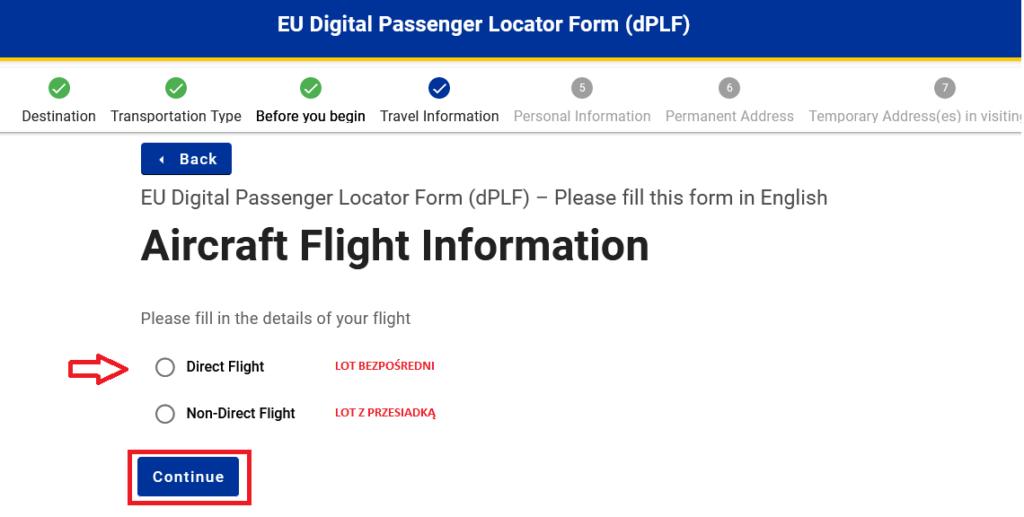 Informacja o rodzaju lotu na Maltę