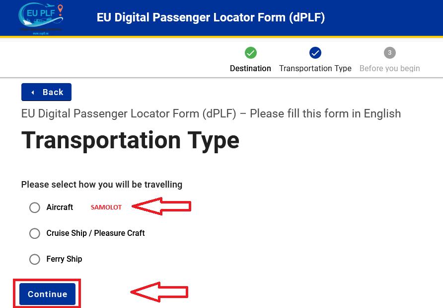 Wybór środka transportu - Jak wypełnić PLF na Maltę